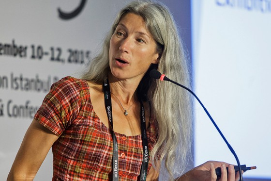 Carina Jaatinen speaking about ICEE at TEM 2015 in Istanbul. Photo copyright Rainer Kurzeder/SC Exhibitions