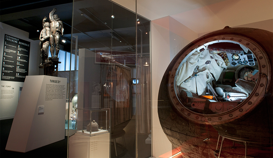 Voskhod 1 descent module, which safely carried the first multiple crew back from space in the Cosmonauts exhibition ©Science Museum